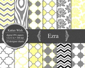 Ezra Digital Paper Kit grey and yellow chevron, quatrefoil and floral designs Instant Download