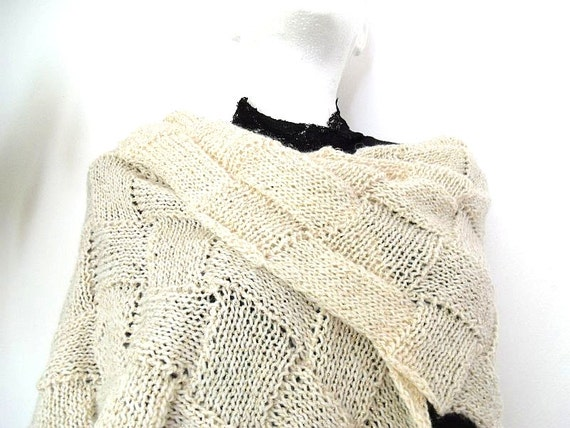Golden cream Entrelac warm ellegant hand made shawl scarf