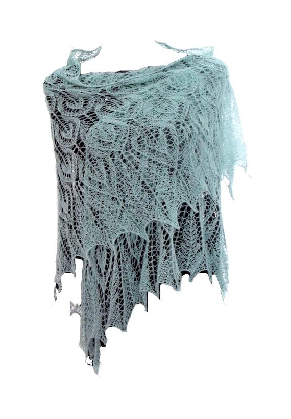 Mint green lacy triangle exclusive ellegant shawl extra fine merino wool wedding bridal