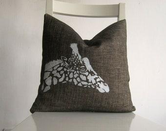 Giraffe on  Brown Canvas - 16 x 16 Cushion cover.