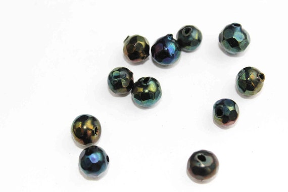 Vintage metallic peacock  beads - faceted round - 10 mm - hollow blown glass - handmade 1920s