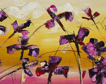 ORIGINAL Oil Painting Share The Love 23 x 45 Palette Knife Flowers Textured Colorful Purple Iris Modern ART by Marchella