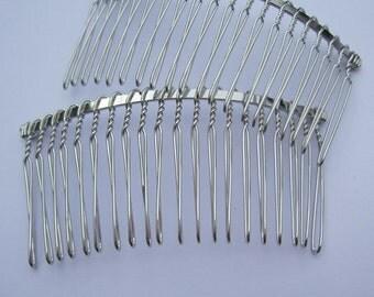 Silver combs--10pcs Silver Metal Hair Combs (20 teeth) 75x38mm