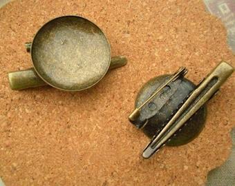 25 pcs antique Brooches, brooch blanks, 25mm round bezel tray brooch back base clip safety pin, cabochon base brooch
