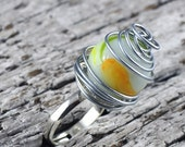 Statement Ring Wire Wrapped Marble Adjustable Ring in Handmade Felt Jewelry Pouch