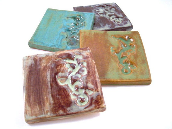 Ceramic Coaster Tile Set - Leafy Sea Dragons Austraila Sea Life Creatures ON SALE Discounted Trivets