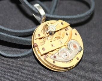 Industrial Gold Watch Movement Steampunk Necklace Unisex Pendant P 23