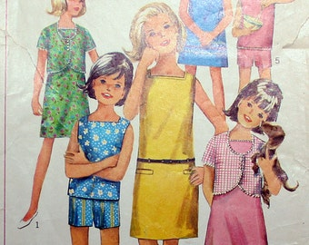 Vintage Girls Dress or Top Jacket and Shorts Sewing Pattern Simplicity 6423 Size 8 Chest 26
