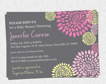 Baby Shower Invitation Printable, Girl, Hot and Pale Pink, Yellow and Charcoal Grey Gray Floral Modern, DIY Digital File