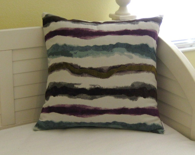 FLASH SALE Contemporary Stripe in Turquoise, Chocolate Brown, Purple and Green 20 x 20 Pillow Cover