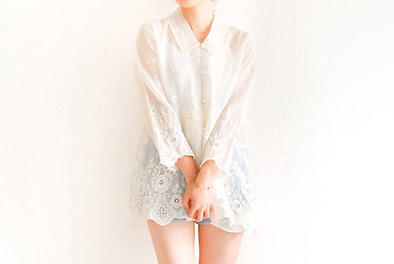Vintage Lace Crochet Floral Embroidery Button Up Blouse - Scalloped Collar and Hem