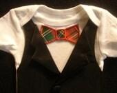 Infant Tuxedo Onesie With Christmas Plaid Bowtie
