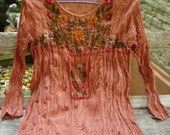Long Sleeves Bohemian Embroidered Top - Brick