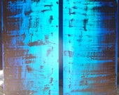 Large Two Piece Original Abstract Painting Art Blue Aqua
