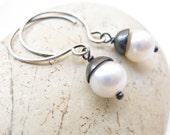 Dark Angle freshwater pearls oxidised sterling silver earrings