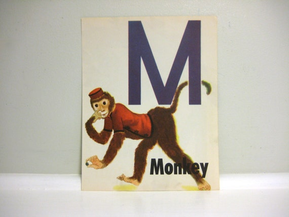 Vintage Letter M Children's Book Illustration, Circus Monkey Art, Drawing, Monogram, Initial M, N Wall Decor, Lithograph, 1940s Litho