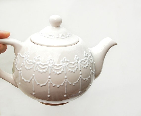 White lace teapot  hand painted