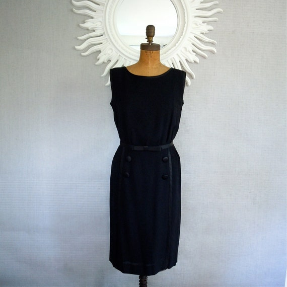 1950s Cocktail Dress/ Miss Brooks, Black dress, Satin trim, large buttons, tuxedo style