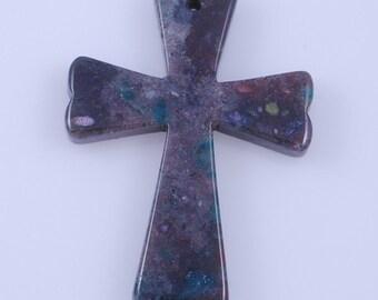 Indian Agate Cross pendant bead J39B9456