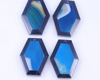 4 Pieces Blue Stripe Agate and Black Onyx Intarsia pendant bead G1S14138