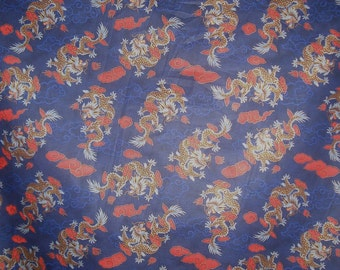SPECIAL--Navy Blue and  Red Dragon Print Pure Cotton Fabric --One Yard