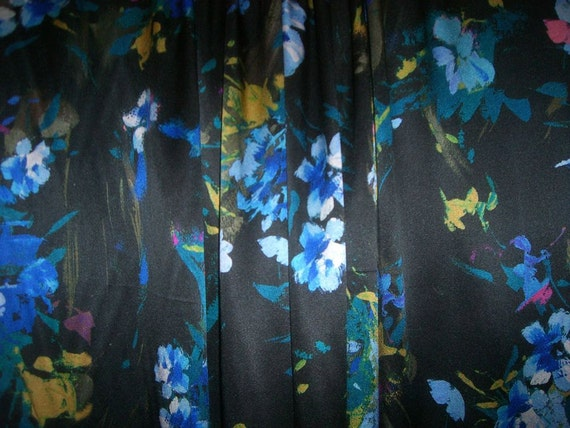 REMNANT--Black with Blues Floral Print Pure SIlk Charmeuse Fabric from Italy--1&3/8  Yard