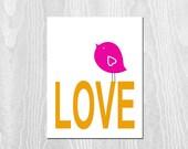 Love Print, Kids Wall Art, Children's Art Print Poster, Bird Print, Valentine Print, Bird, Feather, Heart, Orange, Pink, Neon, Wedding Print