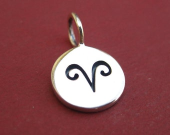 Sterling Silver Stamped Aries Zodiac Sign Disc Tag Charm