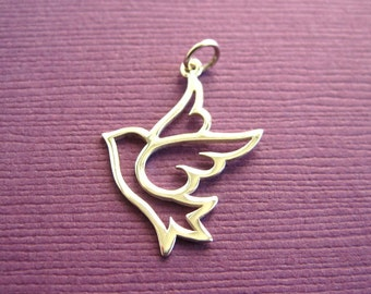Sterling Silver Large Openwork Dove  Charm