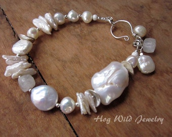 Artisan Pearl and Sterling Silver Bracelet