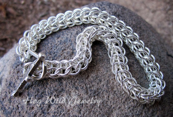 RESERVED Artisan Crafted Sterling Silver Chainmaille Foxtail Bracelet, Unisex Chainmaille Jewelry, Women's Handcrafted Chainmaille Jewelry