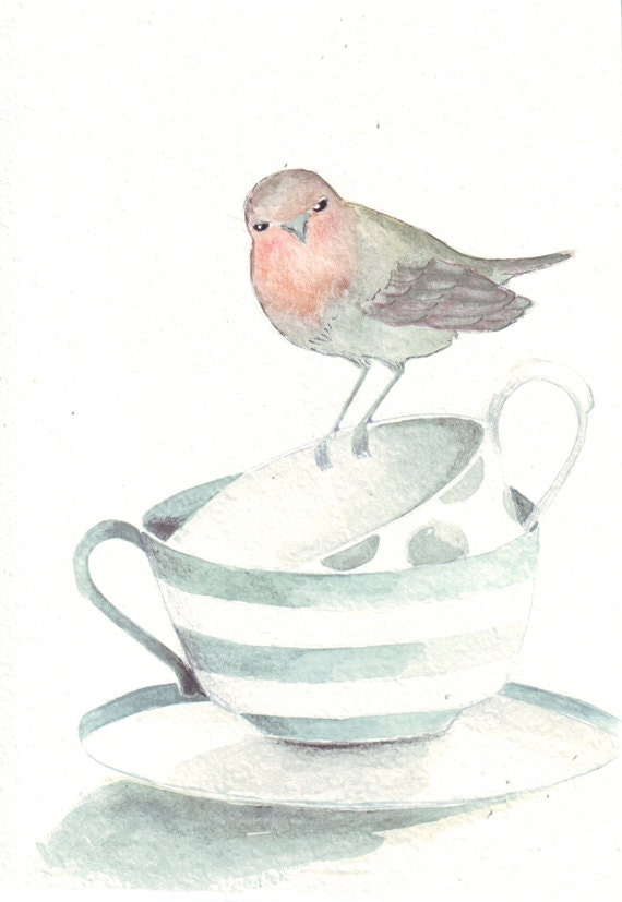Two teacups and Robin, Original painting watercolor art