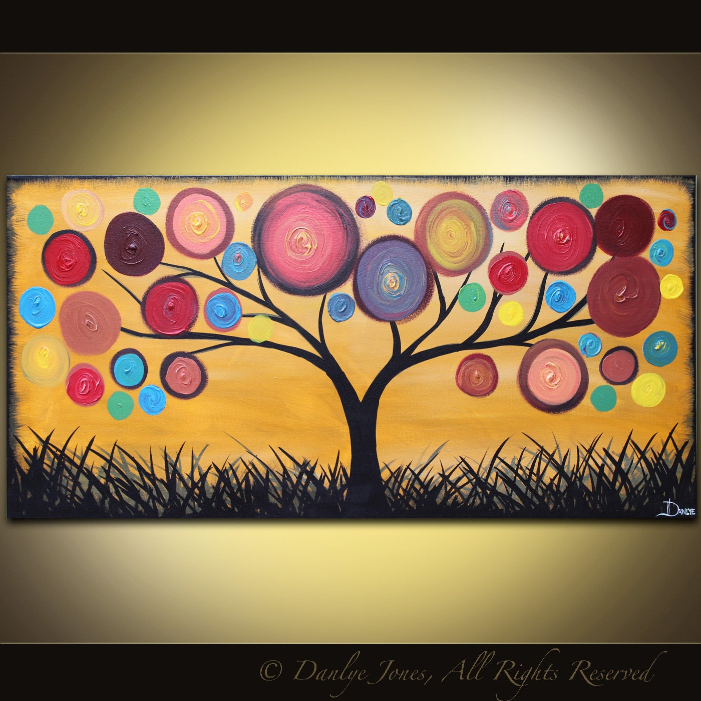 Abstract painting tree acrylic on canvas red ochre 48 x 24 for Abstract mural designs
