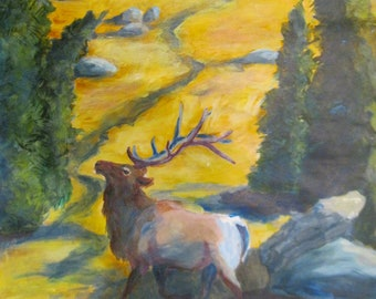 Elk Painting, Original Painting.