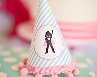 DIY Printable Party Hat - Girl Superhero Party