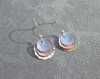 Mixed Metal Earrings - Hammered Sterling Silver, Copper and Brass - Gifts for Her - Mother's Day Gift