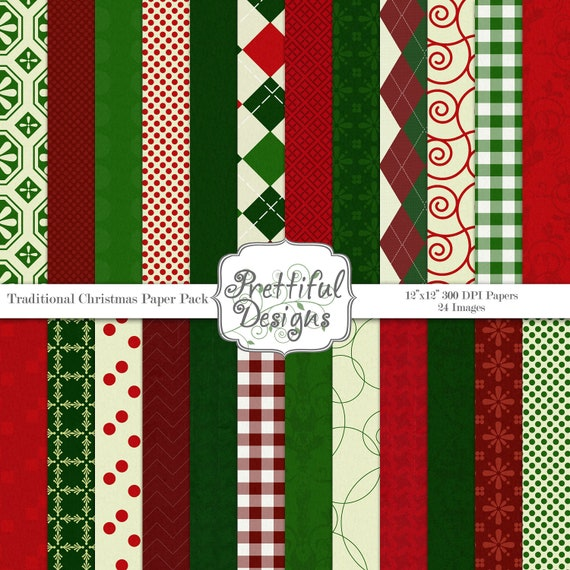 Digital Paper Pack - Traditional Christmas
