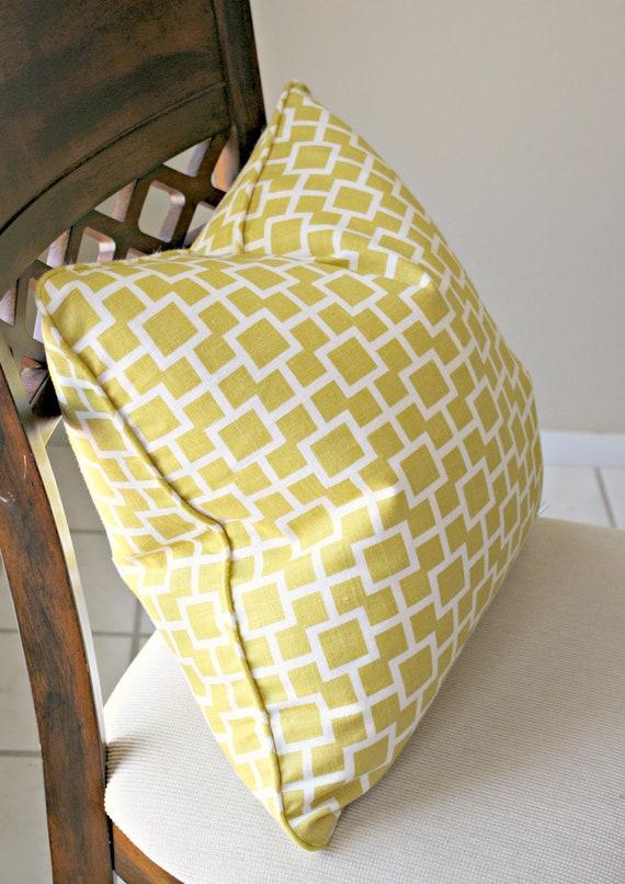 On Sale Robert Allen Cats Cradle in Sunshine Yellow Linen Pillow Cover