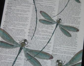Dictionary Art Print Dragonflies Dictionary Print Book Print Upcycled Art Print Vintage Dictionary HHP Original Concept and Design