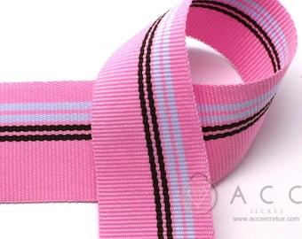 25mm(1'') Pink Sky/Brown Patch Stripe Grosgrain Ribbon 2Yards