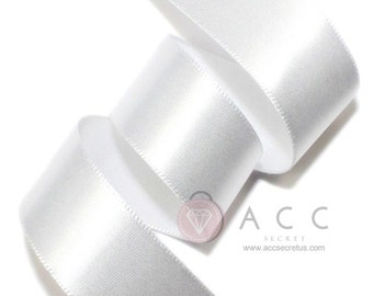 White Single Faced Satin Ribbon - 5mm(2/8''), 10mm(3/8''), 15mm(5/8''), 25mm(1''), 40mm(1 1/2''), and 50mm(2'')