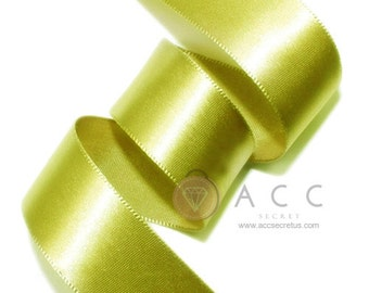 Olive Single Faced Satin Ribbon - 5mm(2/8''), 10mm(3/8''), 15mm(5/8''), 25mm(1''), 40mm(1 1/2''), and 50mm(2'')