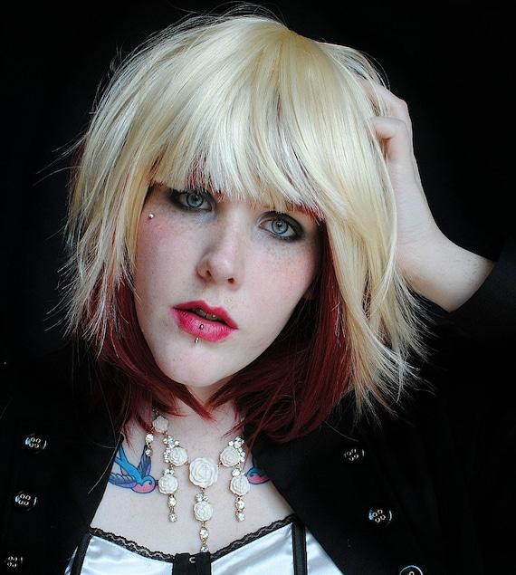 PLATINUM CHERRY wig // Blonde Red Auburn Hair // Medium Sexy
