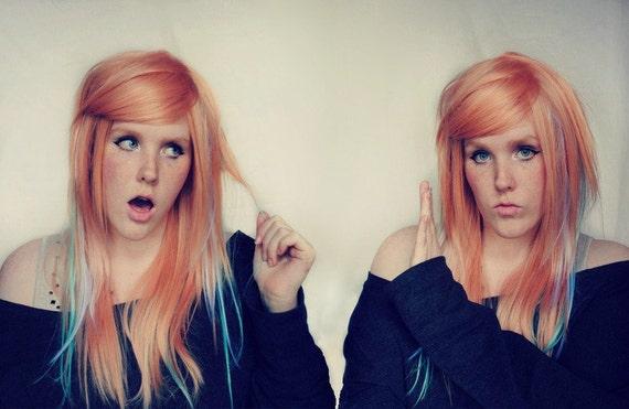 Wig . PEACH PASTEL // Twins Scene Indie Boho Hipster Hair Wig