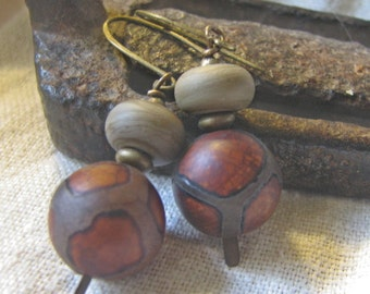 tibetan agate and lampwork dangle earrings