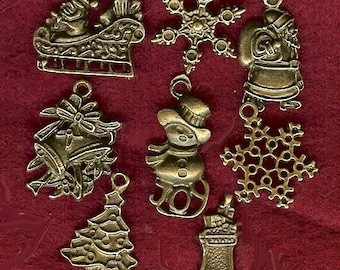 Christmas Charms Antique bronze - collection of 7 vintage images