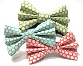 Dog Bowtie, Bow tie Dog Collar- Choose Green, Blue, or Pink Polka Dots
