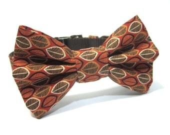 Bow Tie Dog Collar- Orange and Brown Pumpkin Seeds