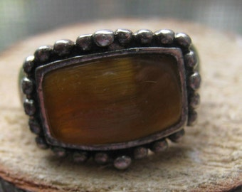 Vintage Sterling Silver Ladies Ring with Brown Tigers Eye Agate Stone Size 6
