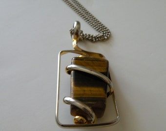 On Sale Tiger Eye modernist pendant.